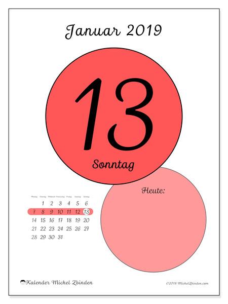 Kalender Januar 2019, 45-13MS. Täglicher Kalender zum kostenlosen ausdrucken.