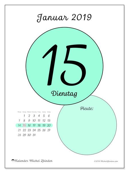 Kalender Januar 2019, 45-15MS. Täglicher Kalender zum kostenlosen ausdrucken.