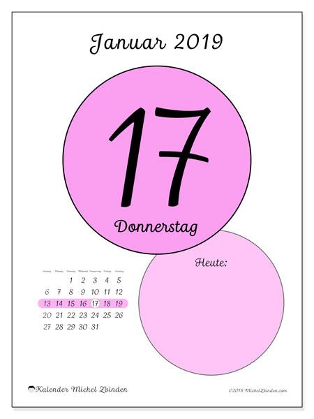 Kalender Januar 2019, 45-17SS. Kalender für den Tag, um kostenlos zu drucken.