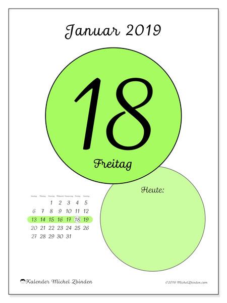 Kalender Januar 2019, 45-18SS. Täglicher Kalender zum kostenlosen ausdrucken.