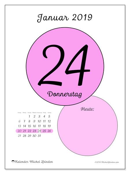 Kalender Januar 2019, 45-24SS. Kalender für den Tag, um kostenlos zu drucken.