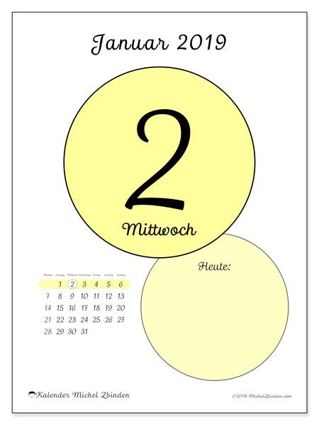 Kalender Januar 2019, 45-2MS. Täglicher Kalender zum kostenlosen ausdrucken.