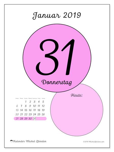 Kalender Januar 2019, 45-31SS. Kalender für den Tag, um kostenlos zu drucken.