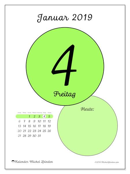 Kalender Januar 2019, 45-4SS. Kalender für den Tag, um kostenlos zu drucken.