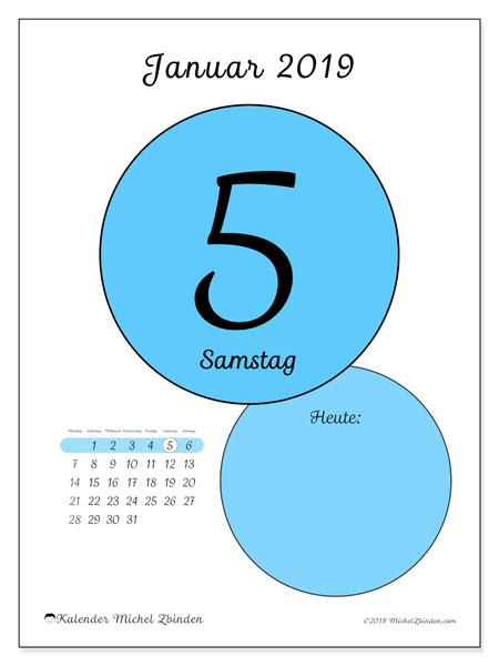 Kalender Januar 2019, 45-5MS. Täglicher Kalender zum kostenlosen ausdrucken.