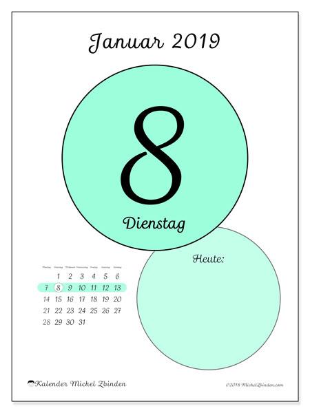 Kalender Januar 2019, 45-8MS. Täglicher Kalender zum kostenlosen ausdrucken.