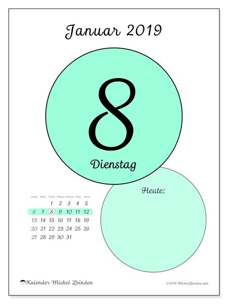 Kalender Januar 2019, 45-8SS. Kalender für den Tag, um kostenlos zu drucken.
