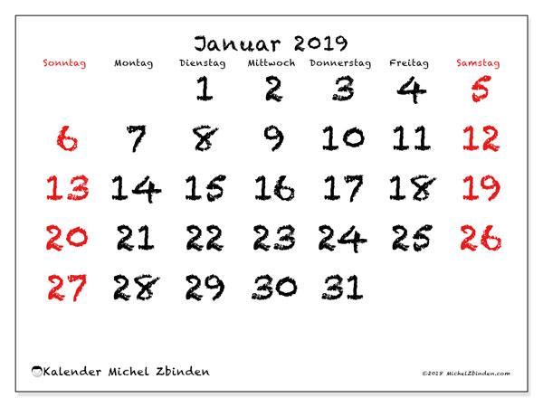 Kalender Januar 2019, 46SS. Kostenlos ausdruckbare Planer.