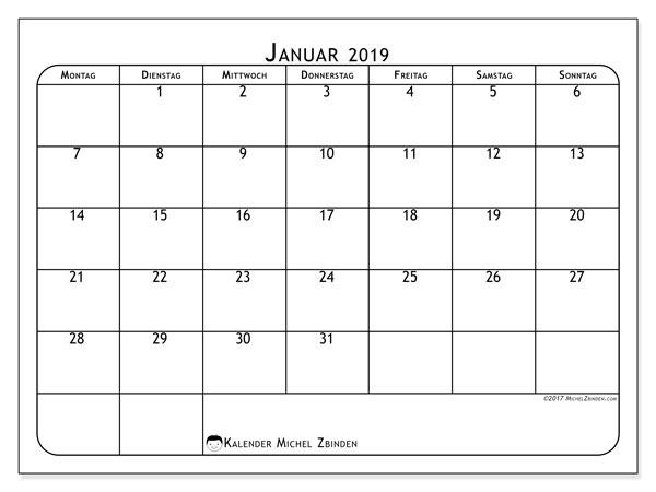 Kalender Januar 2019, 51MS. Kalender für den Monat zum kostenlosen ausdrucken.