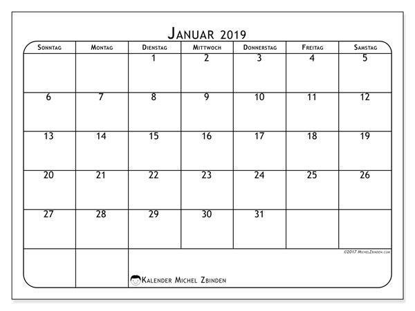 Kalender Januar 2019, 51SS. Kostenloser Planer zum ausdrucken.