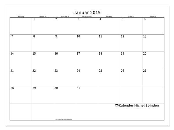 kalender januar 2019 ms michel zbinden de. Black Bedroom Furniture Sets. Home Design Ideas