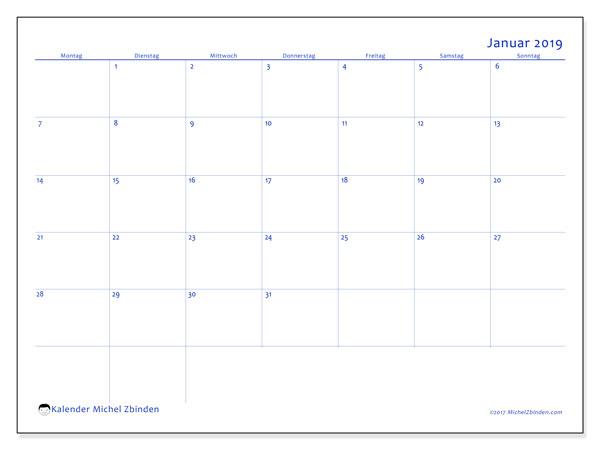 Kalender Januar 2019 (55MS). Kalender zum kostenlosen ausdrucken.