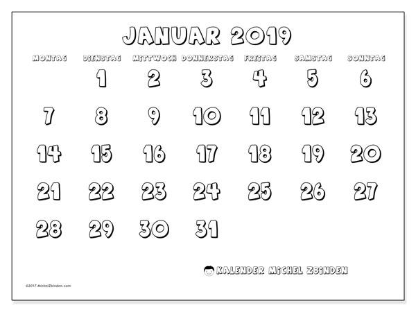 Kalender Januar 2019 (56MS). Monatlicher Zeitplan zum kostenlosen ausdrucken.