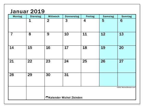 Kalender Januar 2019 (59MS). Monatlicher Zeitplan zum kostenlosen ausdrucken.