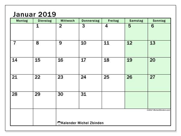 Kalender Januar 2019, 60MS. Monatskalender zum kostenlosen ausdrucken.