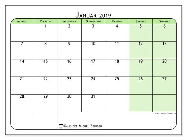 Kalender Januar 2019 (65MS). Monatskalender zum kostenlosen ausdrucken.