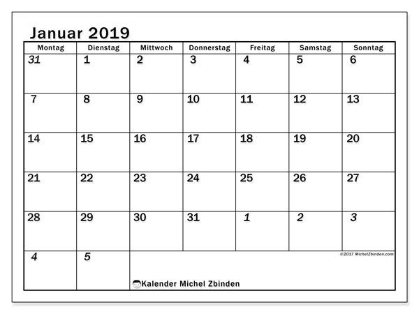 Kalender Januar 2019 (66MS). Kostenloser Kalender zum ausdrucken.