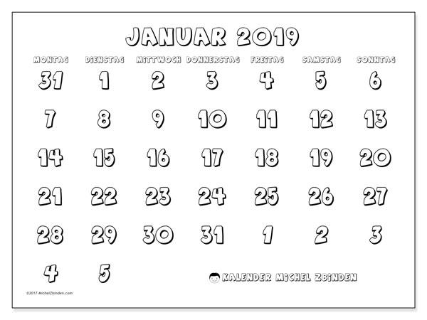 Kalender Januar 2019 (71MS). Kostenloser Planer zum ausdrucken.