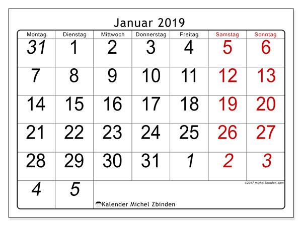 Kalender Januar 2019 (72MS). Monatlicher Zeitplan zum kostenlosen ausdrucken.