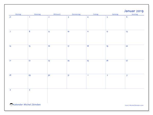 Kalender Januar 2019, 73MS. Planer zum kostenlosen ausdrucken.