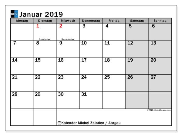Kalender für Januar 2019, mit Feiertagen des Kantons Aargau. Monatskalender zum kostenlosen ausdrucken.