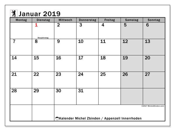 Kalender für Januar 2019, mit Feiertagen des Kantons Apenzell Innerrhoden. Kostenloser Kalender zum ausdrucken.