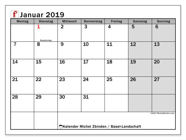 Januar 2019 Kalender  - Basel Landschaft. Kalender zum drucken: Feiertage.
