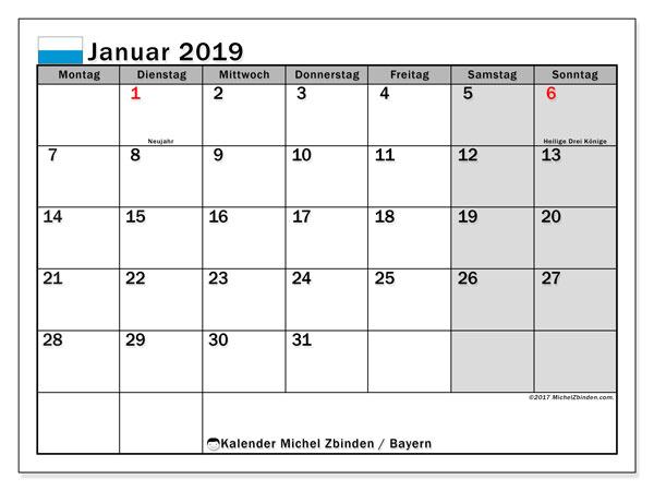 Kalender für Januar 2019, , mit Feiertagen Bayern. Kalender für den Monat zum kostenlosen Ausdrucken.