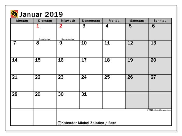 Kalender für Januar 2019, , mit Feiertagen des Kantons Bern. Kalender für den Monat zum kostenlosen Ausdrucken.