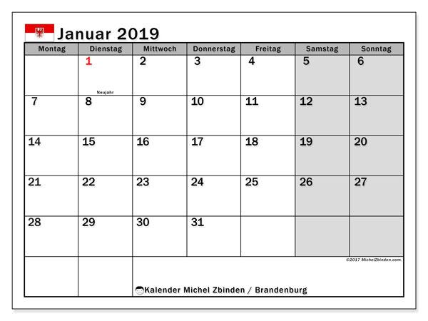 Kalender für Januar 2019, , mit Feiertagen Brandenburg. Kalender für den Monat zum kostenlosen Ausdrucken.