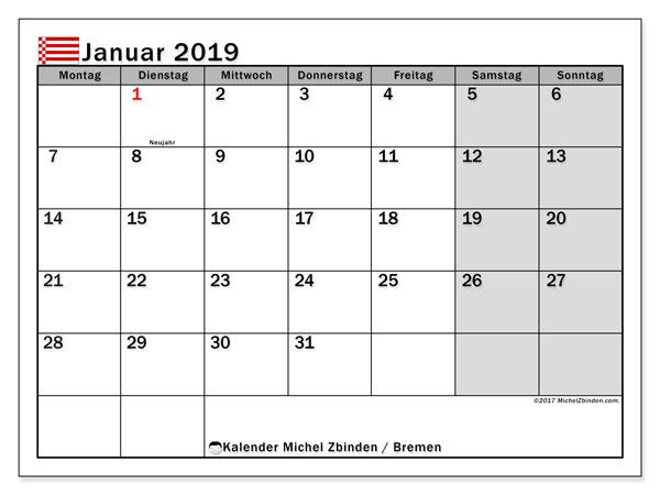 Kalender für Januar 2019, , mit Feiertagen Bremen. Zeitplan zum kostenlosen ausdrucken.