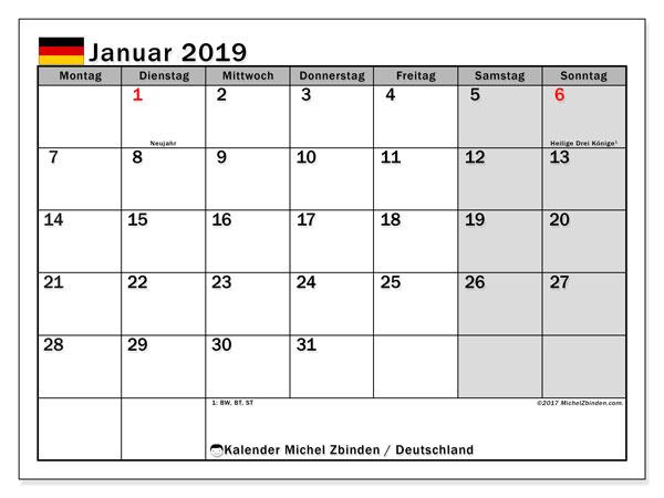 Kalender für Januar 2019, , mit Feiertagen Deutschland. Kostenloser Kalender zum ausdrucken.