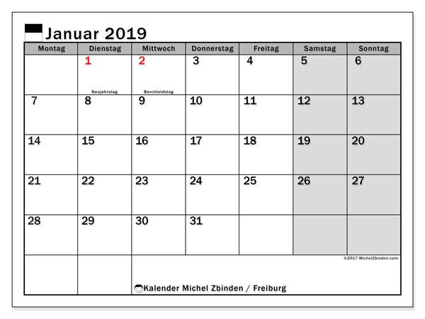 Kalender Januar 2019, mit den Feiertagen des Kantons Freiburg. Kalender Feiertage frei zum ausdrucken.
