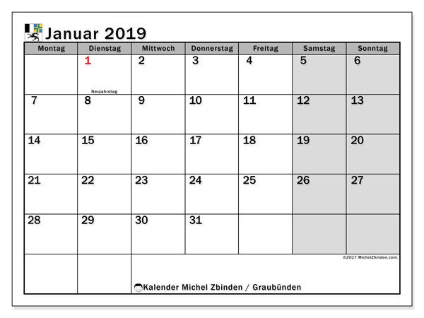 Kalender für Januar 2019, mit Feiertagen des Kantons Graubünden. Kostenloser Planer zum ausdrucken.