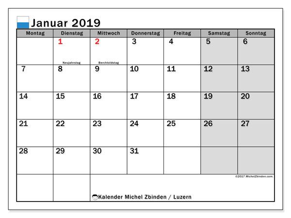 Kalender für Januar 2019, mit Feiertagen des Kantons Luzern. Planer zum kostenlosen ausdrucken.