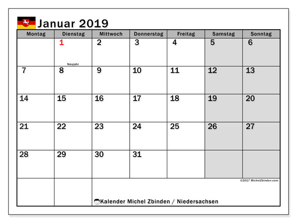 Kalender für Januar 2019, mit Feiertagen Niedersachsen. Kostenlos ausdruckbare Planer.