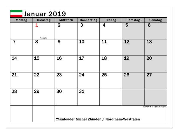 Kalender für Januar 2019, mit Feiertagen Nordrhein-Westfalen. Kostenlos ausdruckbare Zeitplan.