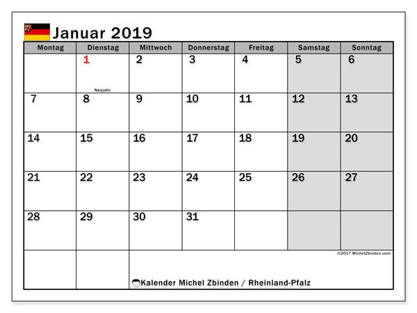 Kalender für Januar 2019, mit Feiertagen Rheinland-Pfalz. Kostenloser Kalender zum ausdrucken.