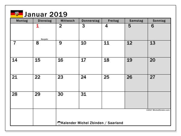 Kalender Januar 2019, mit den Feiertagen des Saarlandes. Kalender mit Feiertagen zum kostenlosen ausdrucken.