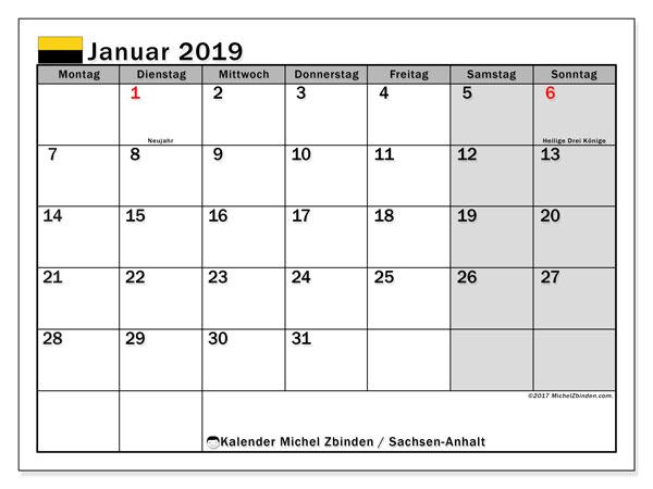 Kalender für Januar 2019, , mit Feiertagen Sachsen-Anhalt. Kostenloser Zeitplan zum ausdrucken.