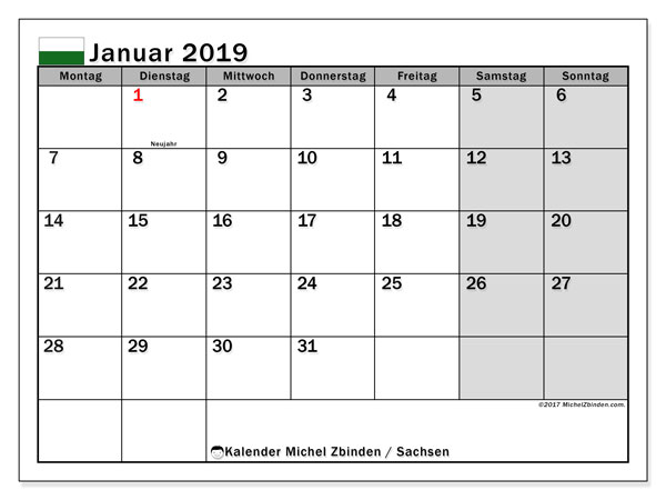 Kalender für Januar 2019, , mit Feiertagen Sachsen. Kostenlos ausdruckbare Planer.