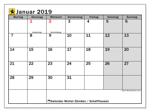 Kalender für Januar 2019, , mit Feiertagen des Kantons Schaffhausen. Monatlicher Zeitplan zum kostenlosen ausdrucken.