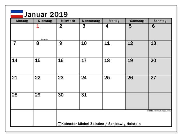 Kalender für Januar 2019, mit Feiertagen Schleswig-Holstein. Kostenlos ausdruckbare Zeitplan.