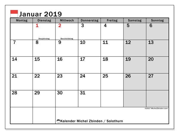 Kalender für Januar 2019, mit Feiertagen des Kantons Solothurn. Kostenloser Planer zum ausdrucken.