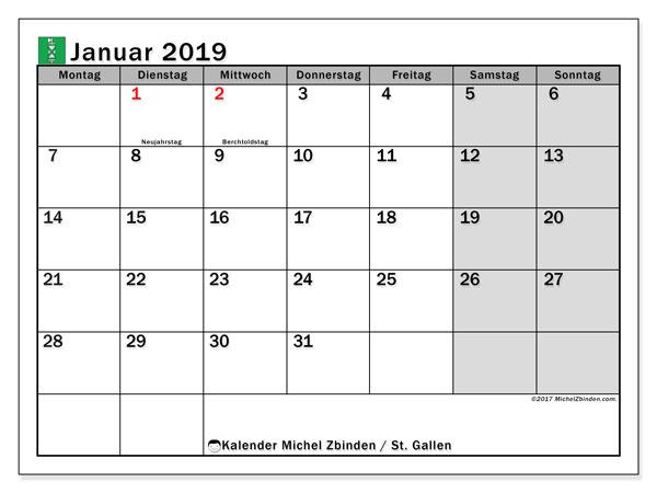 Kalender Januar 2019, mit den Feiertagen des Kantons St. Gallen. Kalender Feiertage frei zum ausdrucken.
