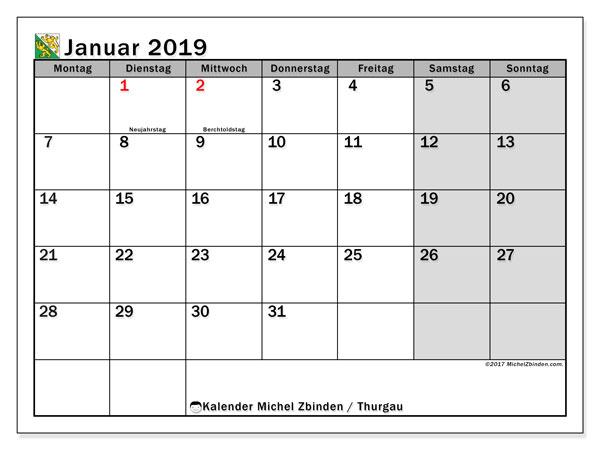 Kalender für Januar 2019, , mit Feiertagen des Kantons Thurgau. Monatskalender zum kostenlosen ausdrucken.