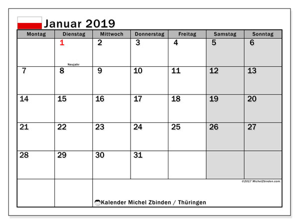 Kalender für Januar 2019, mit Feiertagen Thüringen. Kostenlos ausdruckbare Planer.