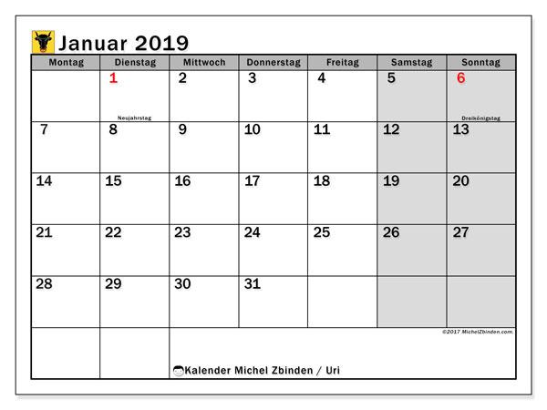 Kalender für Januar 2019, , mit Feiertagen des Kantons Uri. Kalender zum kostenlosen ausdrucken.