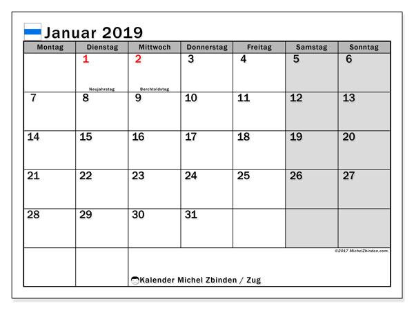 Kalender für Januar 2019, , mit Feiertagen des Kantons Zug. Kalender für den Monat zum kostenlosen Ausdrucken.