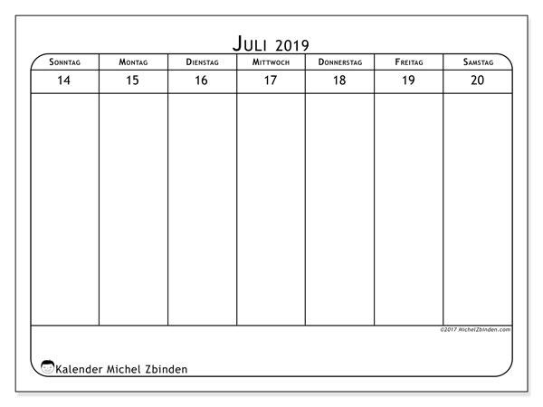 Kalender Juli 2019, 43-3SS. Wöchentlicher Kalender zum kostenlosen ausdrucken.